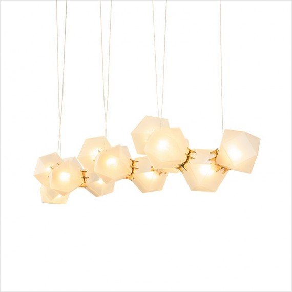 Welles Glass Long LED Chandelier Next white/gold color front view
