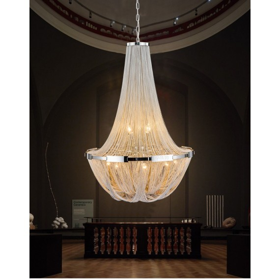 Soscik chandelier Terzani nickel color Diam 50cm side view
