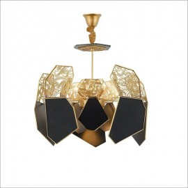 Hypnotic LED Chandelier Koket brass and black color front view