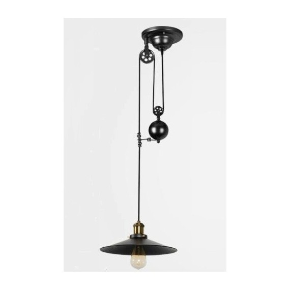 Industrial Iron Pulley single pendant lamp with Edison bulbs Pottery Barn black color front view