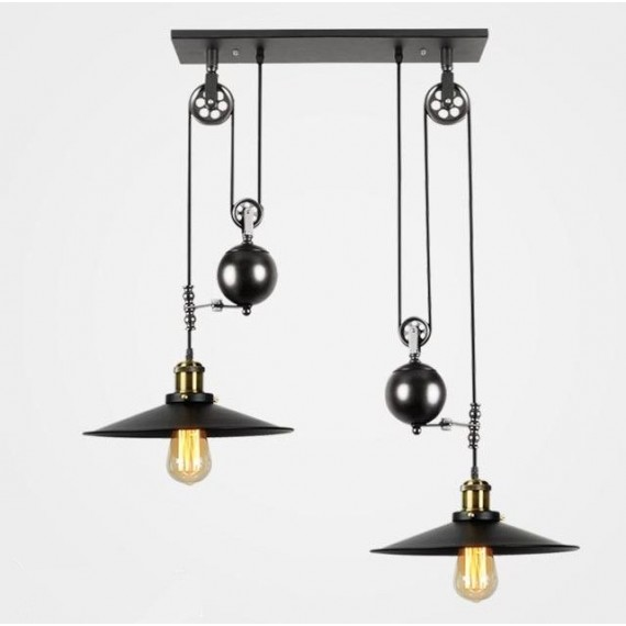Industrial Iron Pulley double pendant lamp with Edison bulbs Pottery Barn black color front view
